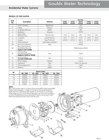 Goulds GT20KIT Repair Rebuild Kit for GT20