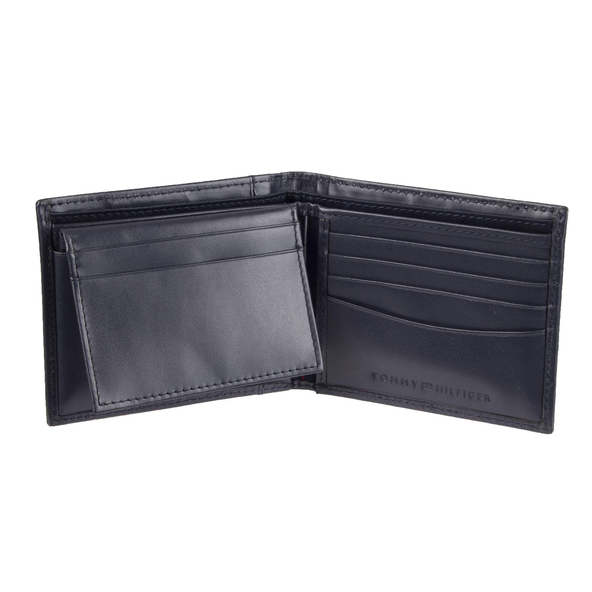 Tommy Hilfiger Men's Leather Wallet - RFID Blocking Slim Thin Bifold with Removable Card Holder and Gift Box, Navy Casual by Tommy Hilfiger (Image #2)