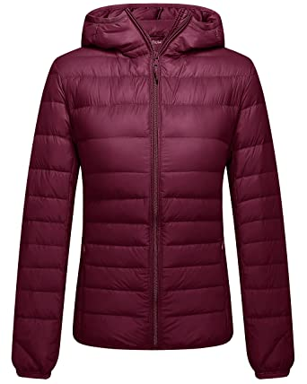 Amazon.com: ZSHOW Women's Packable Hooded Lightweight Down Jackets ...
