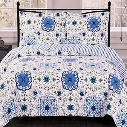 Charmant Coverlet Quilt Set Shams Single Twin/Twin XL Size Extra Long Single Bed  Blue Bohemian
