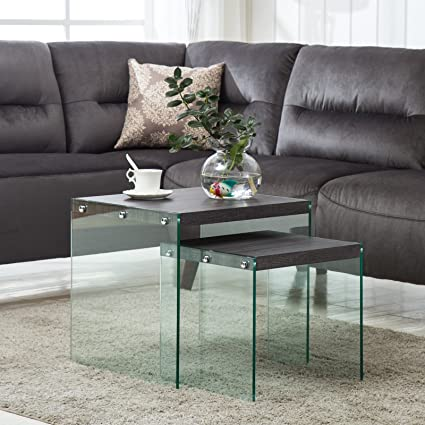 Mecor Nesting Table Set of 2 Glass Side End Coffee Table Wood Top Living  Room Furniture Black Walnut