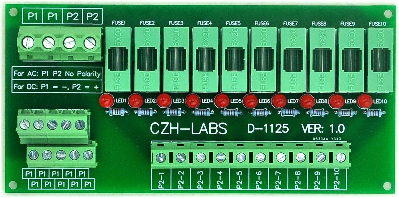 Fusible pour AC//DC 5 ~ 48. Electronics-Salon Support panneau 10 Position Power Distribution Module Board