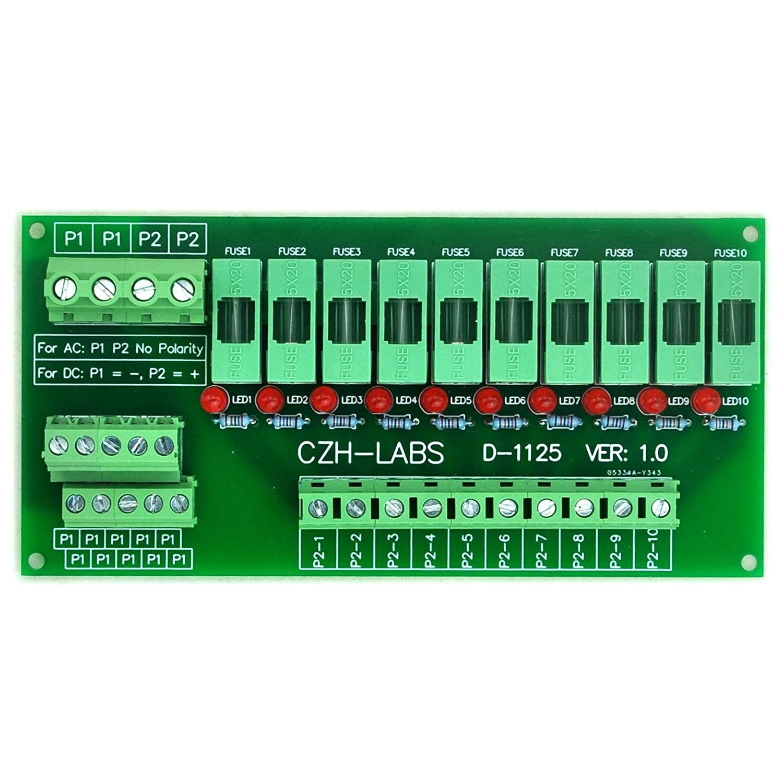Electronics-Salon Panel Mount 10 Position Power Distribution Fuse Module  Board, For AC/DC 5~48V