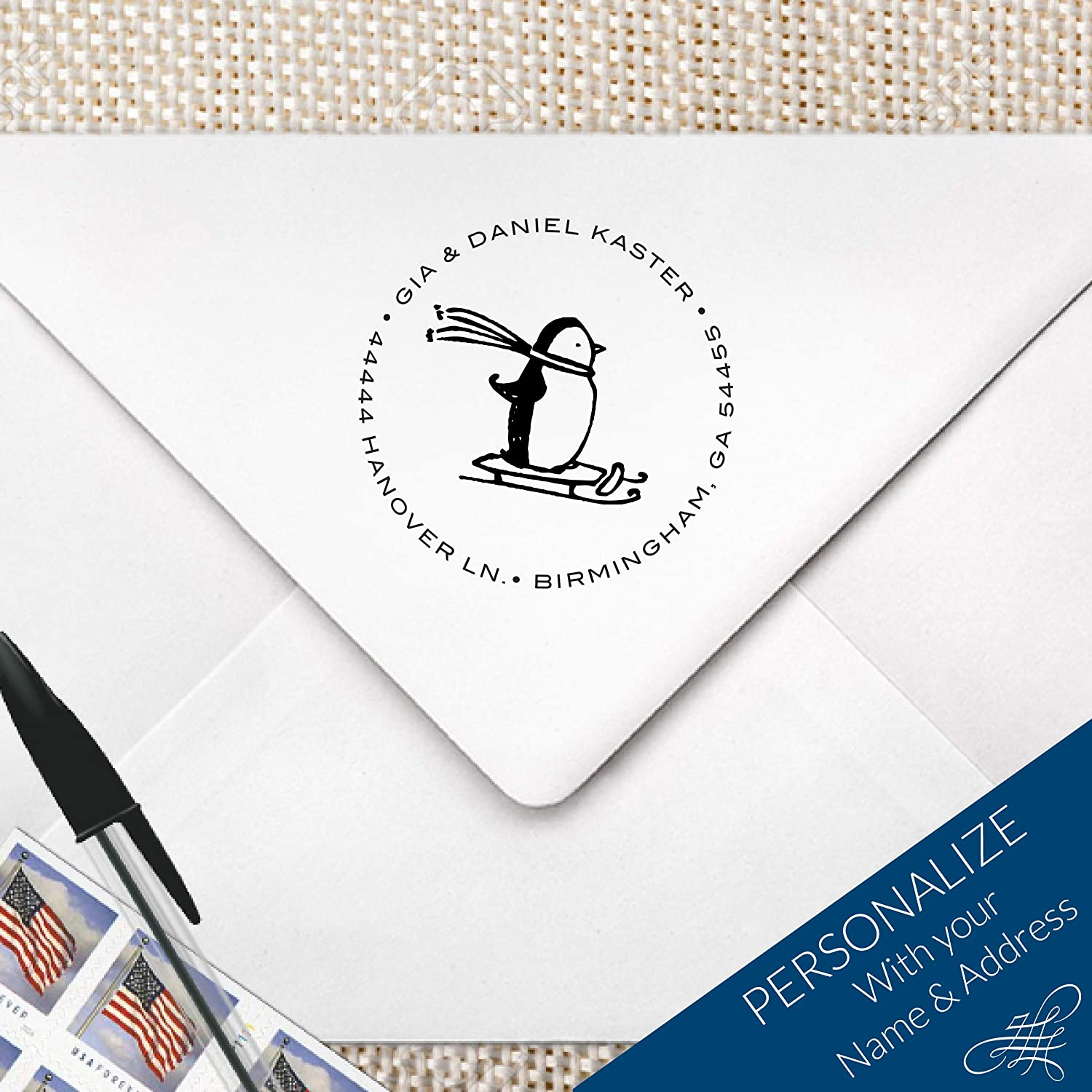 Skiing Penguin Return Address Monogram Stamp, Christmas Address Stamp, Holiday Return Address Stamp | MS-R21