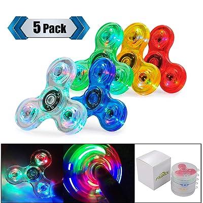 FIGROL LED Fidget Spinner, Clear Fidget Toy, Crystal Led Light Rainbow Toy Finger Hand Spinner-Kids(5 Pack): Toys & Games