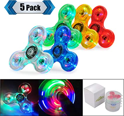 Pink 18 Changes LED Light Up Hand Spinner Toy Tri Fidget Gyro EDC Kids Toy
