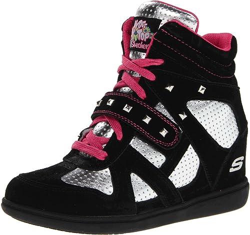 Skechers Double Trouble - Zapatillas de cuero niña, color negro, talla 28.5