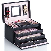 Black White Girls Faux Leather Jewellery Gift Box Rings Necklace Storage Organizer Lockable 091