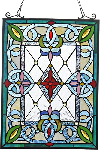 Cotoss Stained Glass Window Hangings, Victorian Stained Glass Panel, Tiffany Window Panel Hanging, Tiffany Glass Panel, Suncatcher, Tiffany Style Window Hanging