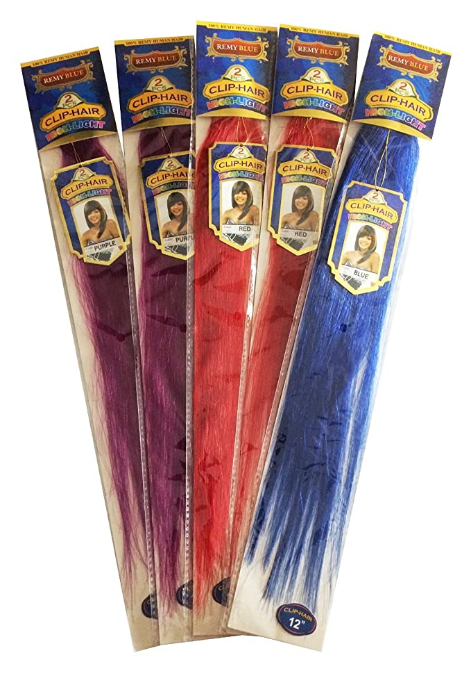 """10 Clip In 100% Human Hair - 2 Clips Per Packs - 5 Packs - Various Colors (10"""", 4 Purple + 4 Red + 2 Blue)"""