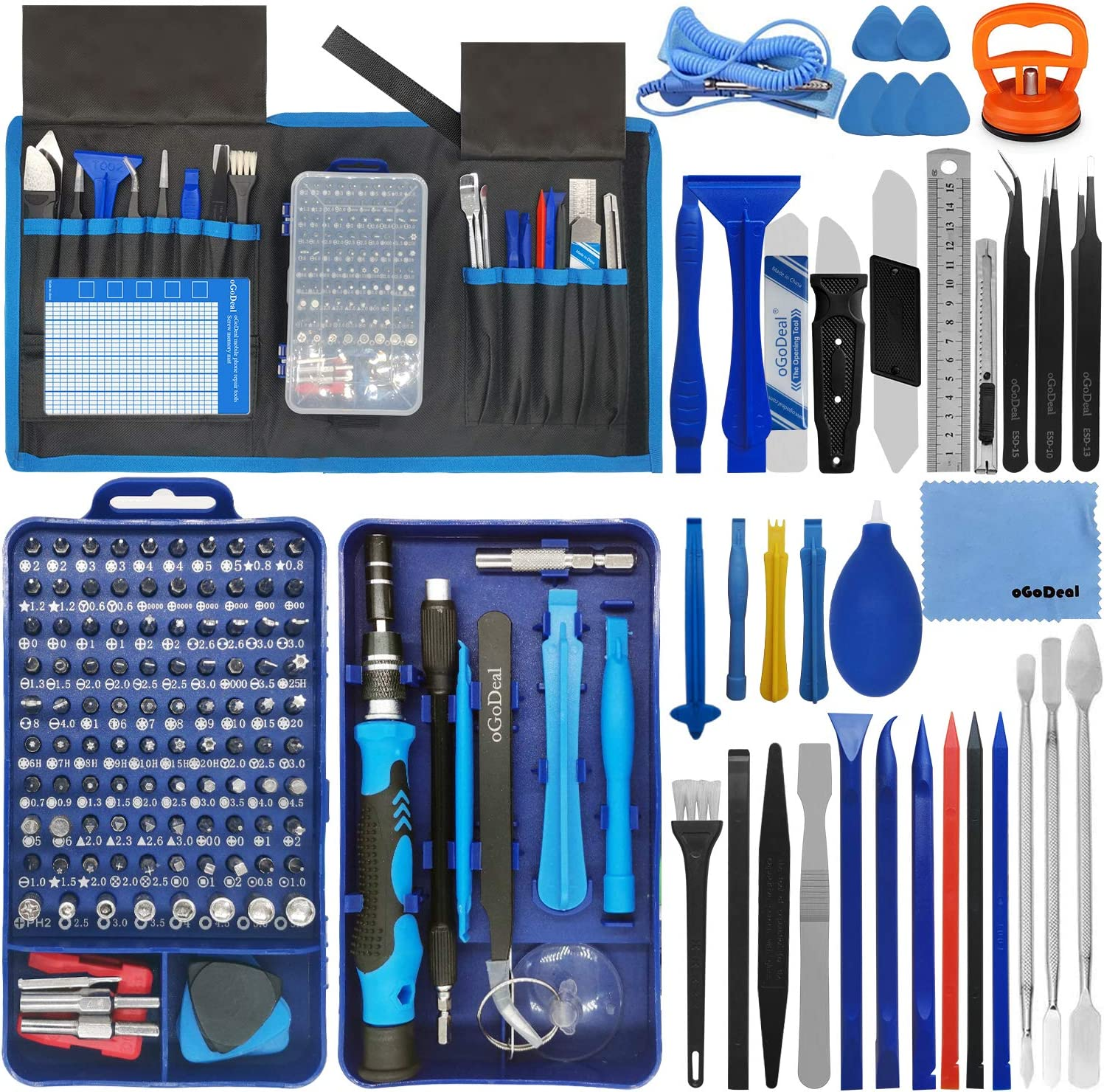 oGoDeal 155 in 1 Precision Screwdriver Set Professional Electronic Repair Tool Kit for Computer, Eyeglasses, iPhone, Laptop, PC, Tablet,PS3,PS4,Xbox,Macbook,Camera,Watch,Toy,Jewelers,Drone Blue