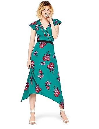 rencontrer d1af9 00a7d Marque Amazon - find. Femme Robe Midi Portefeuille à Fleurs