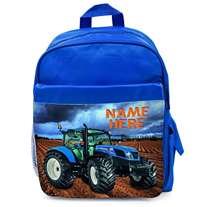 KRAFTYGIFTS Personalised School Bag HOLLAND TRACTOR Farmer Boys Backpack  Book Kids Rucksack - Blue NST001  Amazon.co.uk  Kitchen   Home 3239f0970a516
