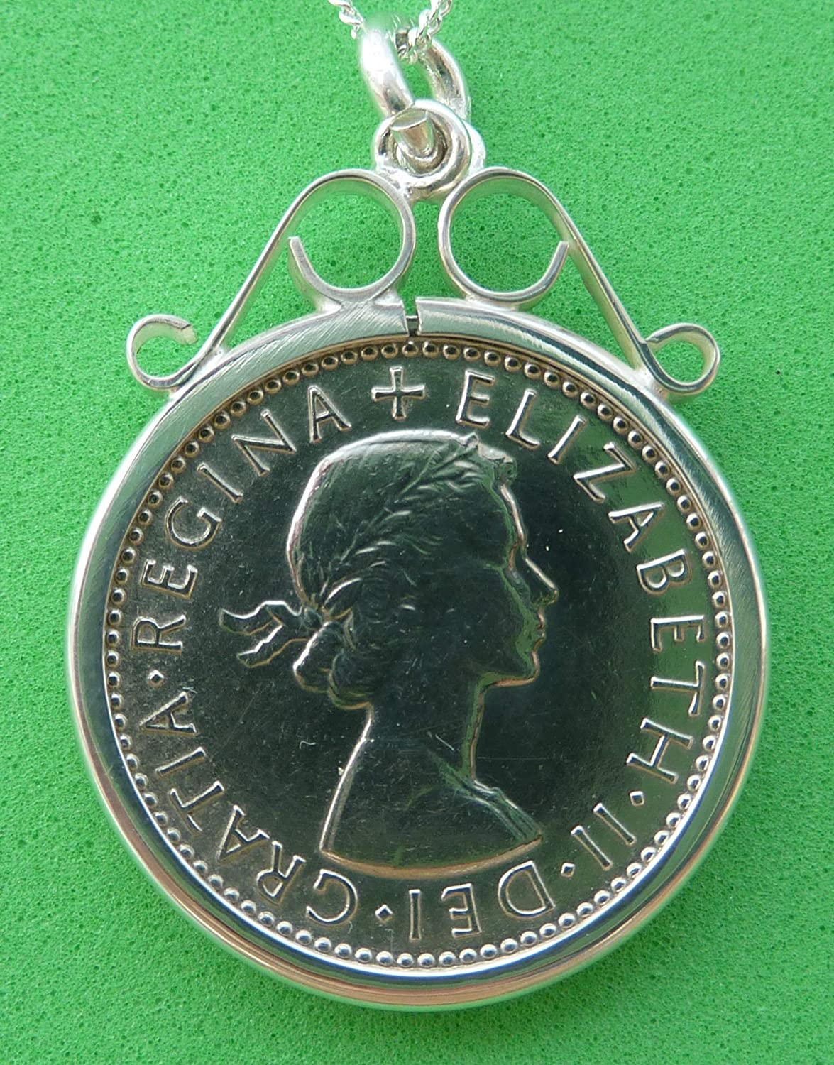 Lucky Sixpence 1964 Genuine English Old Tanner Coin in 925 Silver Scroll Mount with Sterling Silver 18inch Diamond Cut Curb Chain Original 55th Birthday Gift for 55 Year Old Woman Or Man