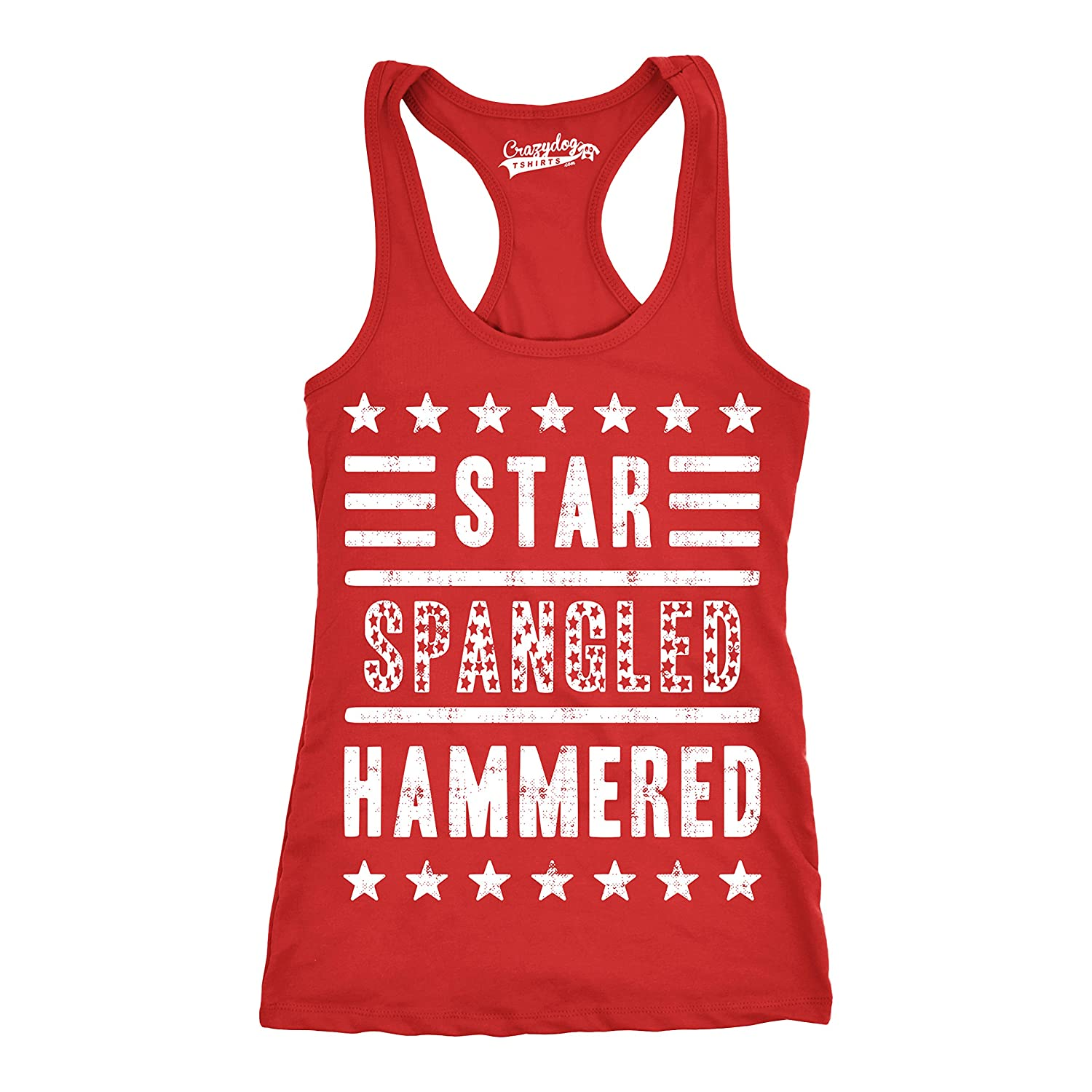 689b9814578c9d Amazon.com  Womens Star Spangled Hammered Funny Workout Shirts Sleeveless  Ladies Fitness Tank Top  Clothing