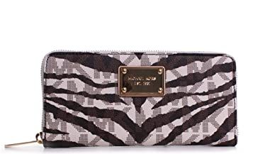 a910609686e75 Image Unavailable. Image not available for. Color  Michael Kors Jet Set  Continental Wallet Vanilla MK Signature Tiger