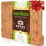 Thick Bamboo Wood Cutting Board/Kitchen Butcher Block - Heavy Duty Chopping Board With Juice Grooves and Handles. Best for Carving Meat, Fish and Chicken | Perfect Housewarming Gift
