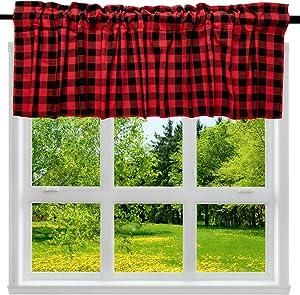 "2 Pack Buffalo Check Plaid Cotton Window Valances Red and Black Farmhouse Design Window Treatment Decor Curtains Rod Pocket Valances for Kitchen/Living Room 16"" x 56"""