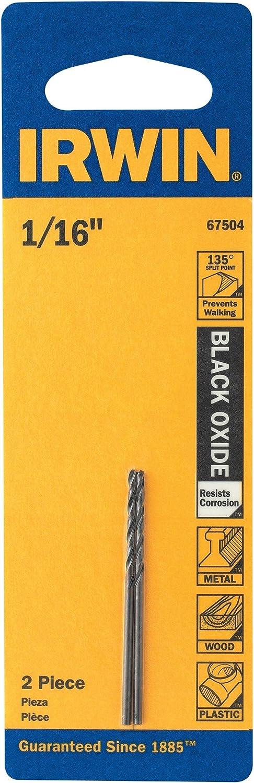 """Irwin 67504 1//16/"""" Black Oxide Metal Twist Drill Bit"""