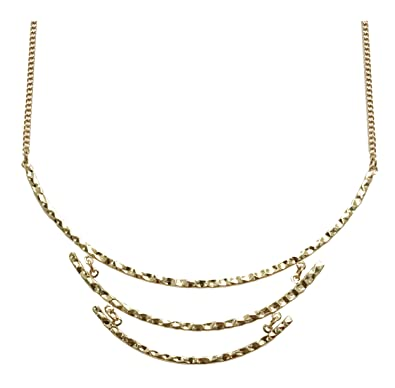 3c9de3a3bf5c78 Image Unavailable. Image not available for. Color: Hammered gold bar bib  crescent statement necklace