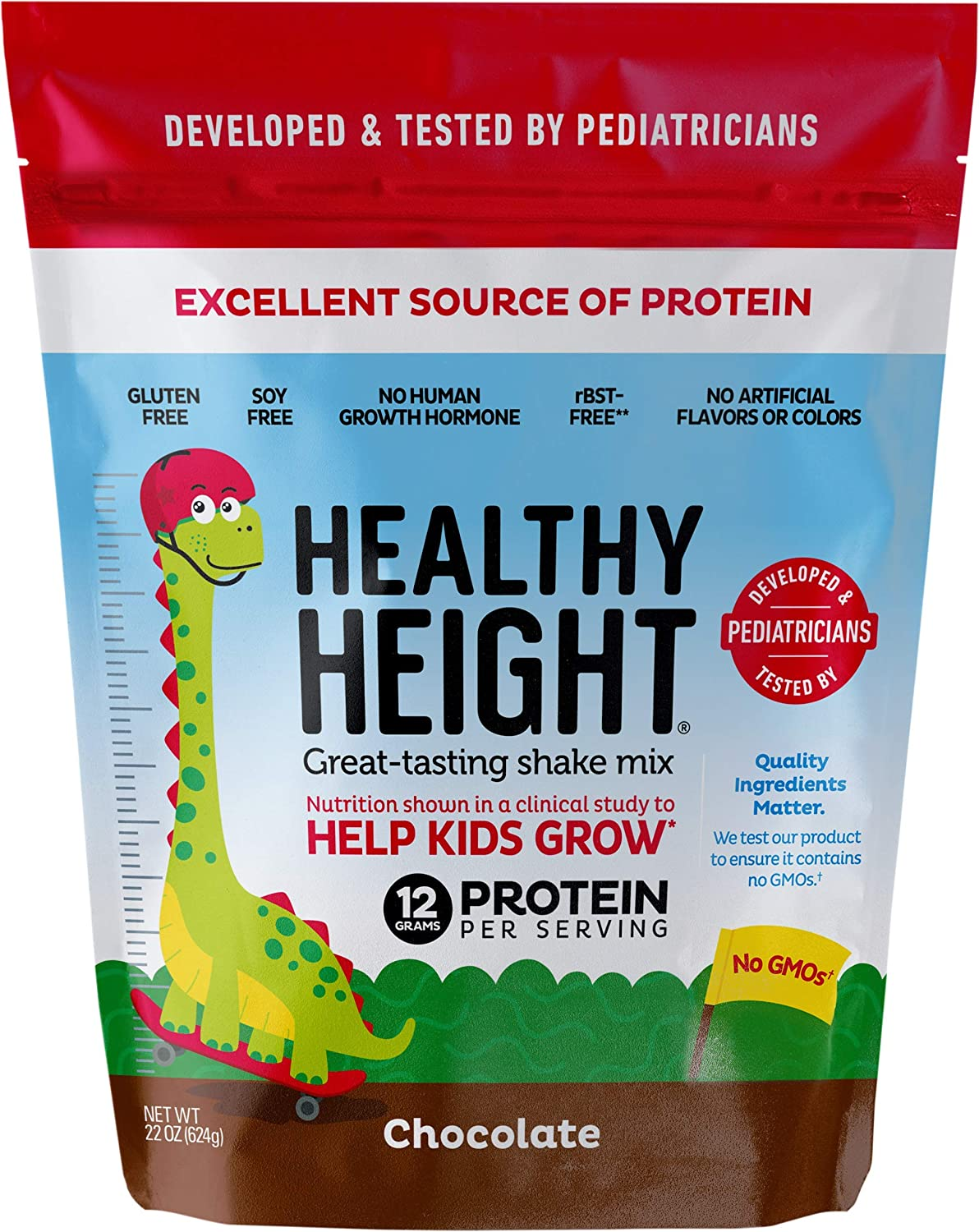Healthy Height Kids Protein Powder (Chocolate) - Developed By Schneiders Childrens Hospital To Help Children Grow. Nutritional Shake w/ 12grams of ...