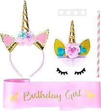 Unicorn Cake Topper with Eyelashes, Unicorn Headband and Unicorn Satin Sash Unicorn Party Supplies