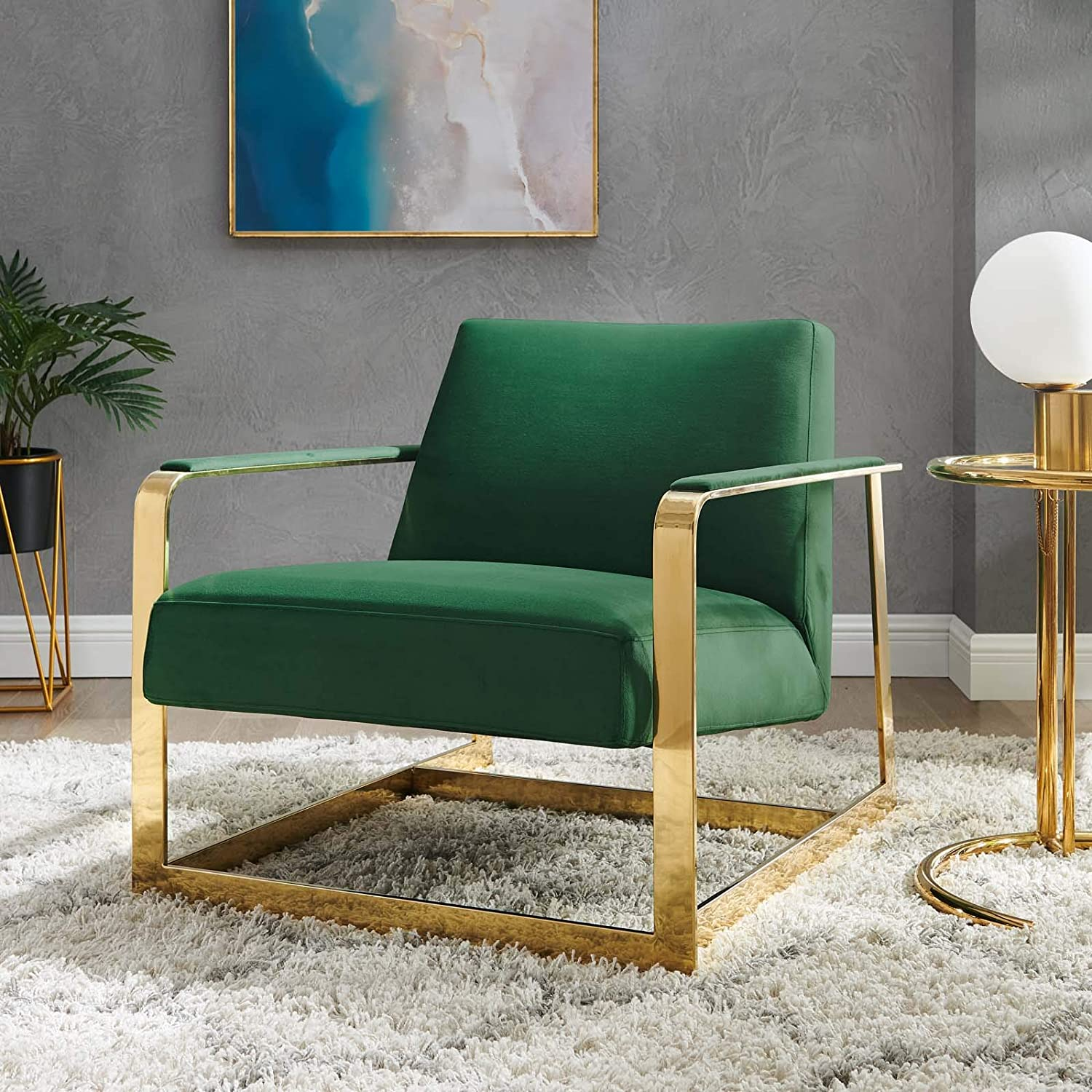 Modway Seg Performance Velvet Accent Chair, Gold Emerald