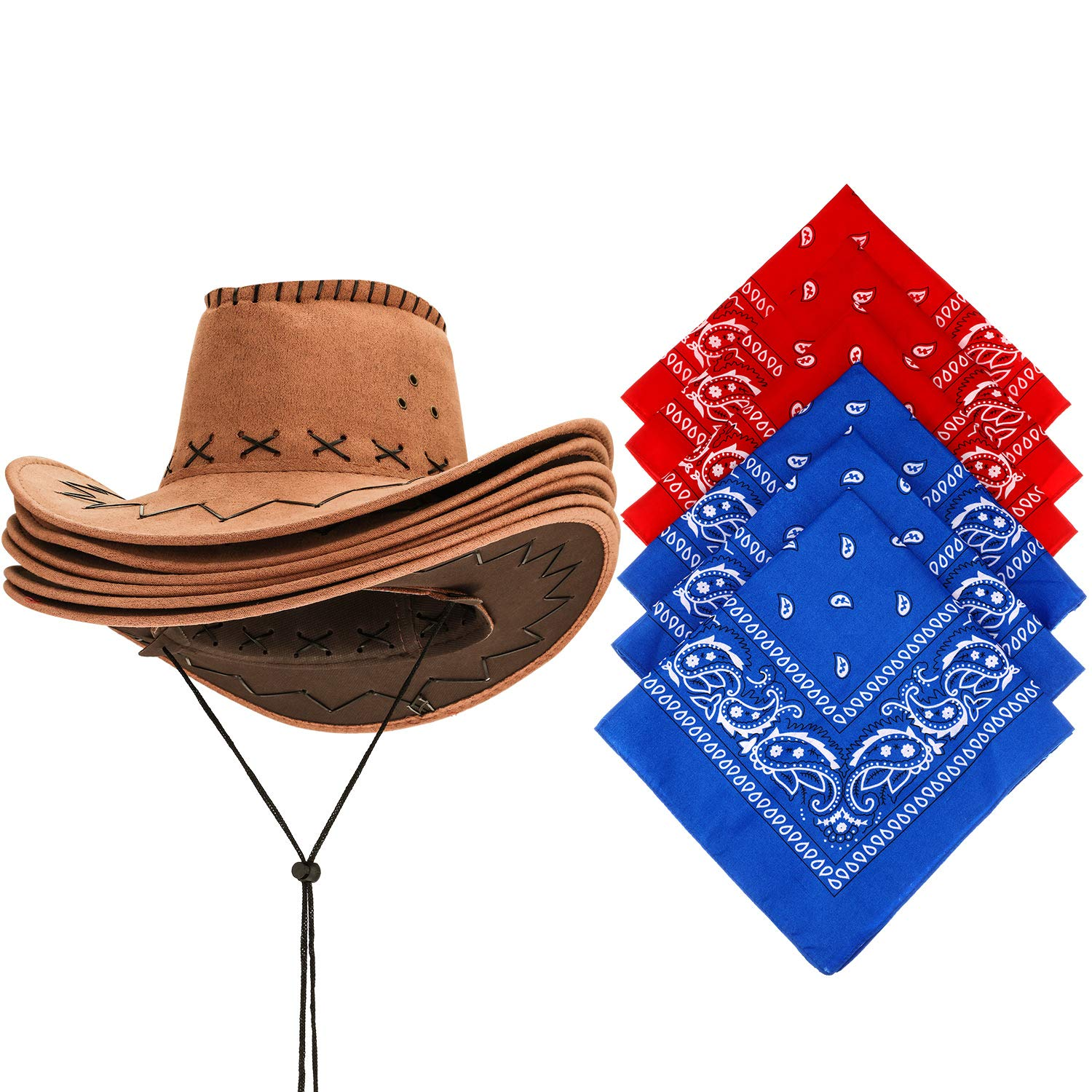 6 Packs Western Cowboy Hat with Bandanna, Fancy Dress Party Favorite by SATINIOR