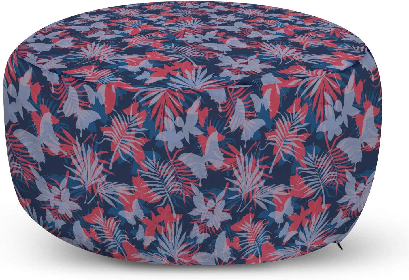 Lunarable Tropical Ottoman Pouf, Exotic Leaves Monstera Fan Palm Butterflies Eco Paradise Jungle Foliage, Decorative Soft Foot Rest with Removable Cover Living Room and Bedroom, Blue Coral