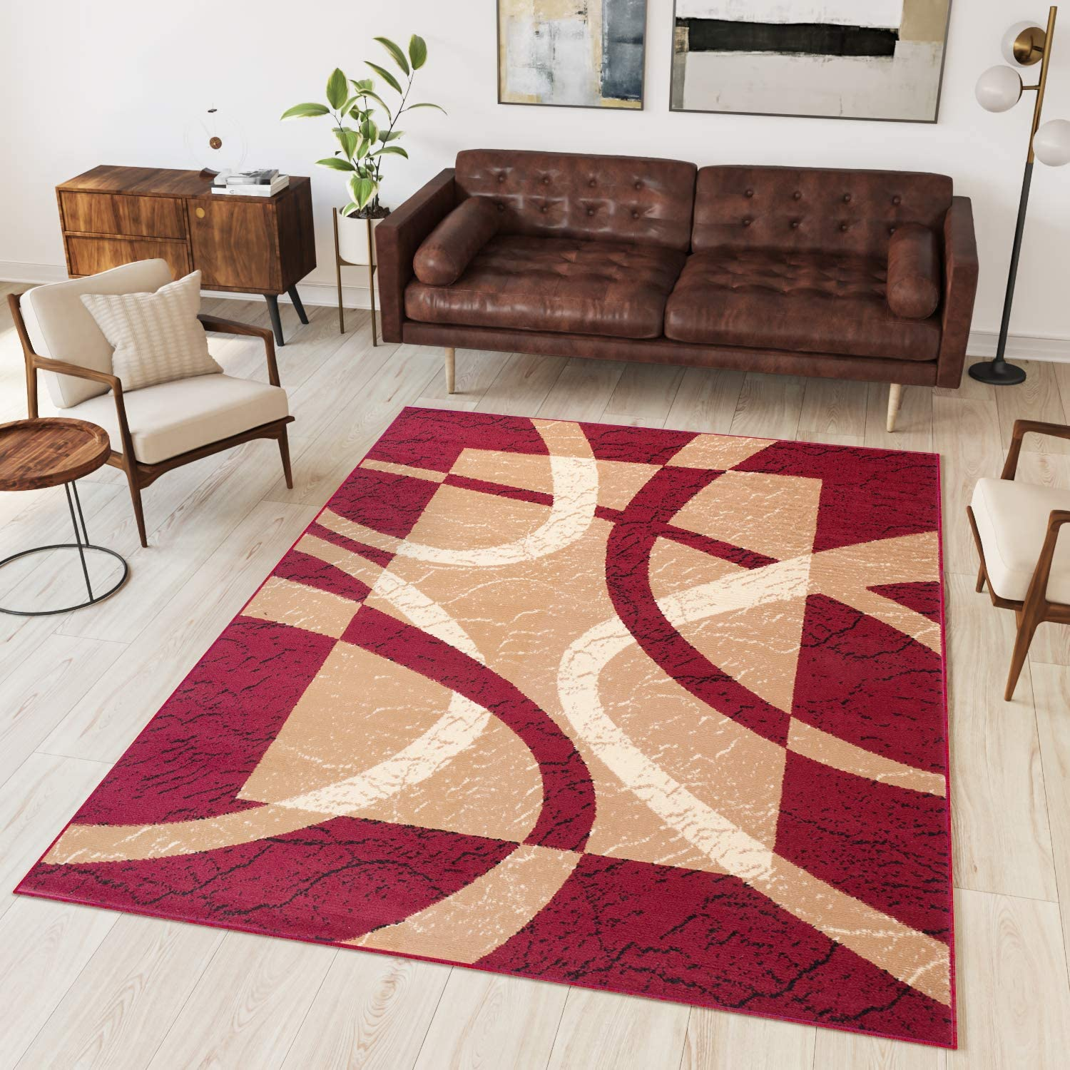 Tapiso Area Rugs For Living Room Bedroom Modern Contemporary Pattern Cream Beige Burgundy Red Durable Carpets Dream Collection Size 250 X 350 Cm 8ft2 X 11ft6 Amazon Co Uk Kitchen Home