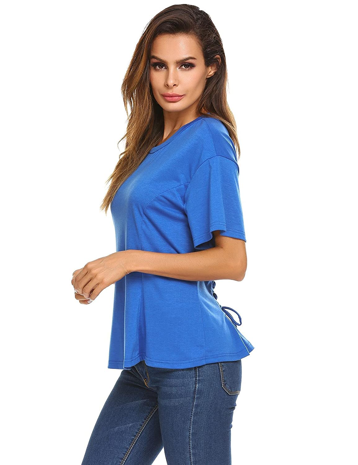 bluee Ouyilu Women ONeck Short Sleeve Solid Blouse with Back Lace up Criss Cross Casual Shirt