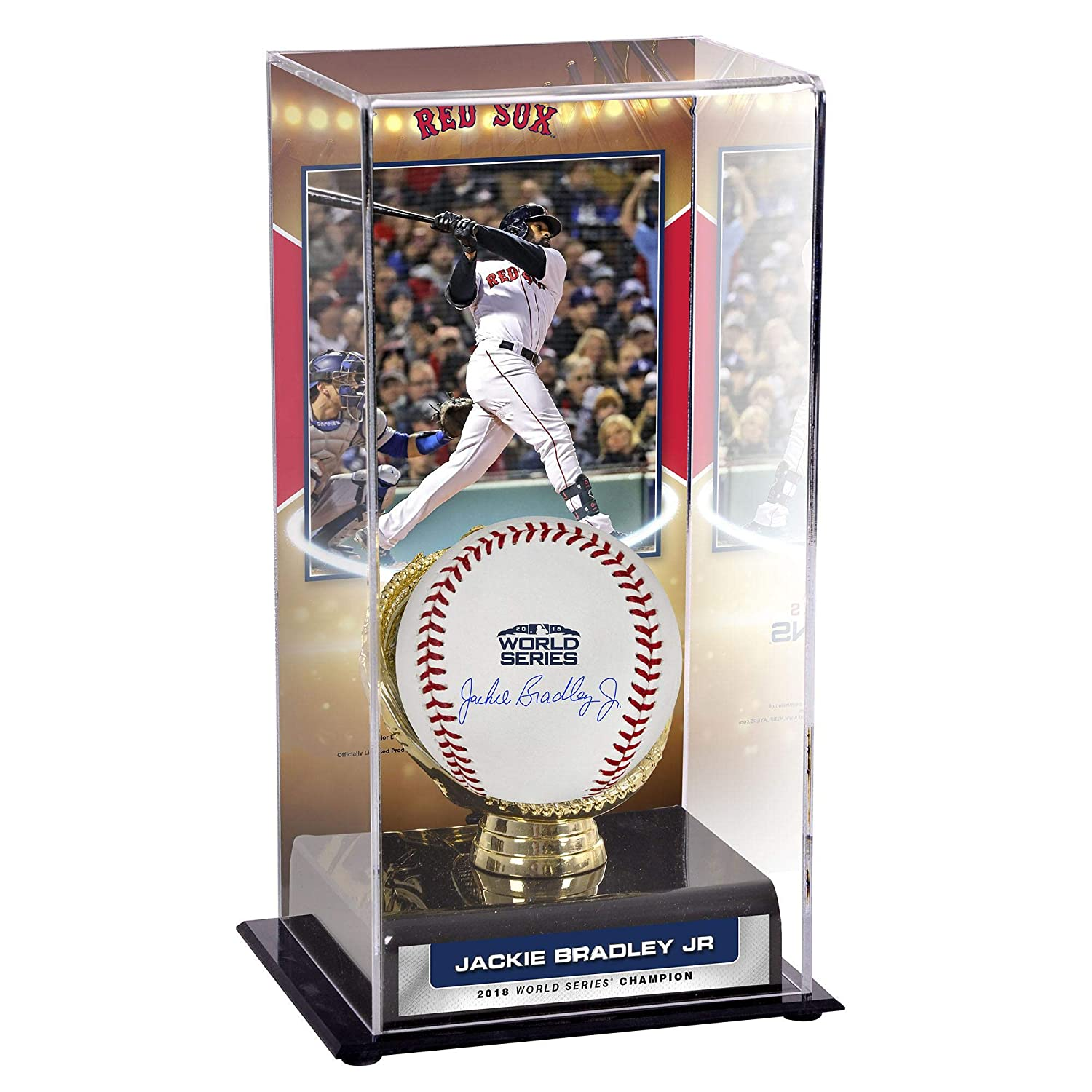 Jackie Bradley Jr. Boston Red Sox 2018 MLB World Series Champions Autographed Logo Baseball and 2018 MLB World Series Display Case and Image - Fanatics Authentic Certified