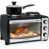 Andrew James 24L Black Mini Oven with Electric Grill and Double Hotplates | 1500W | 5 Cooking Functions Toaster Ovens Roasting Baking Grilling & Reheating