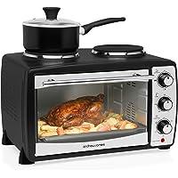 Andrew James Mini Four | Gril électrique et Double plaque de Cuisson | 5 modes de cuisson rapide | 24L | 1500W | Noir