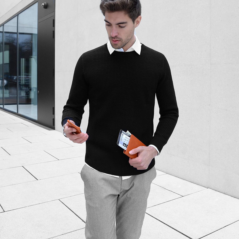 BULLAZO PLANO couverture de passeport I avec RFID NFC PROTECTION BLOCKER Etui en cuir avec pochette /à glissi/ère comme organisateur pour passeport Billet davion Cartes de cr/édit I noir