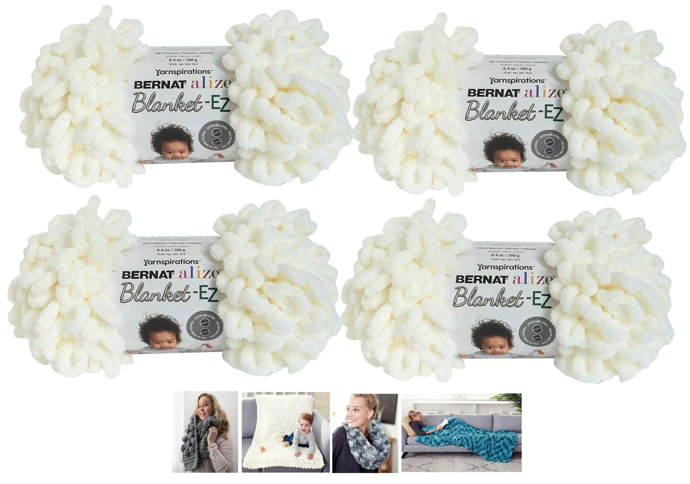 Bernat Alize EZ Blanket Yarn Bundle 100% Polyester 4 -Pack Cream Plus 4 Patterns