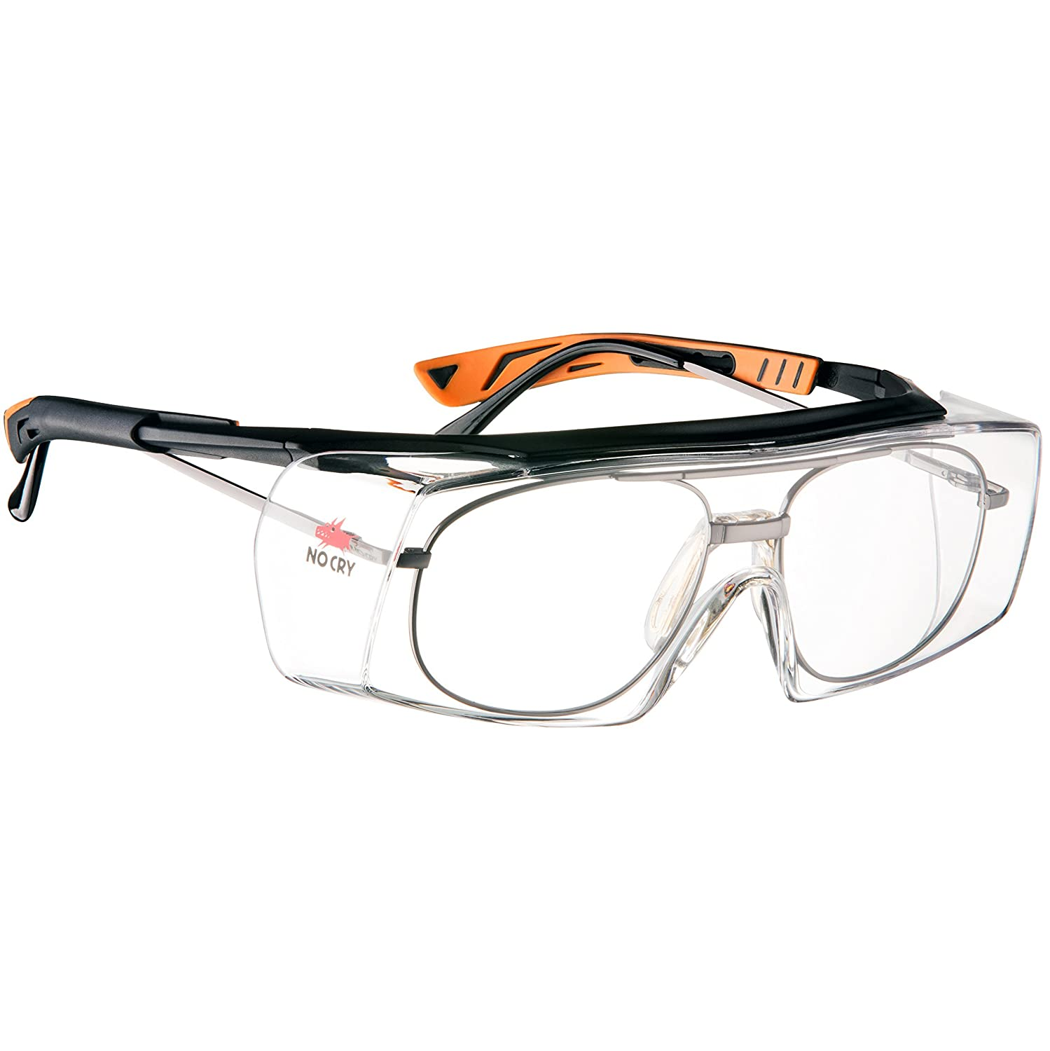 NoCry Over-Glasses Safety Glasses - with Clear Anti-Scratch Wraparound Lenses, Adjustable Arms, Side Shields, UV400 Protection, ANSI Z87 & OSHA Certified, Black and Orange Frames