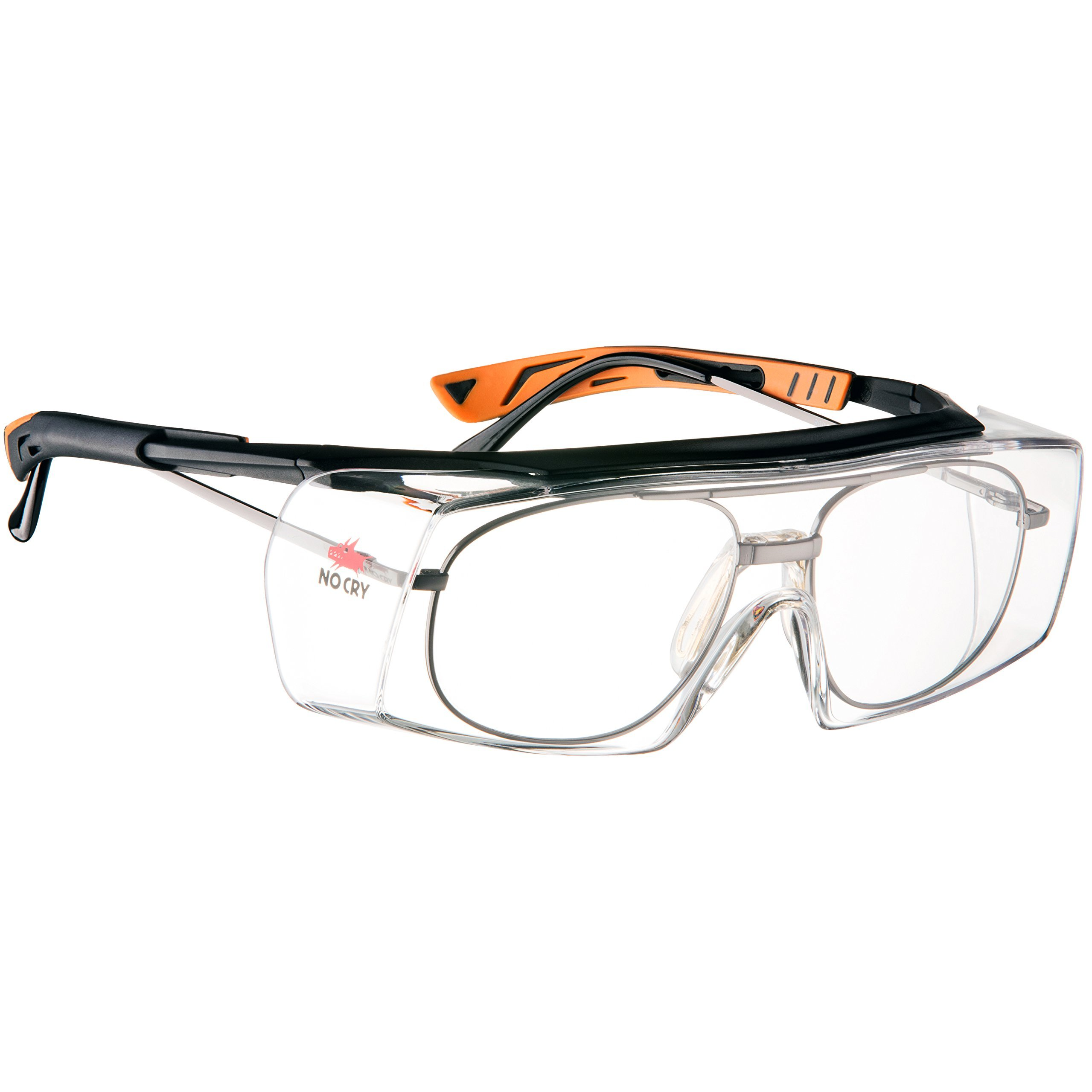 b11dd3de4b NoCry Over-Glasses Safety Glasses - with Clear Anti-Scratch Wraparound  Lenses