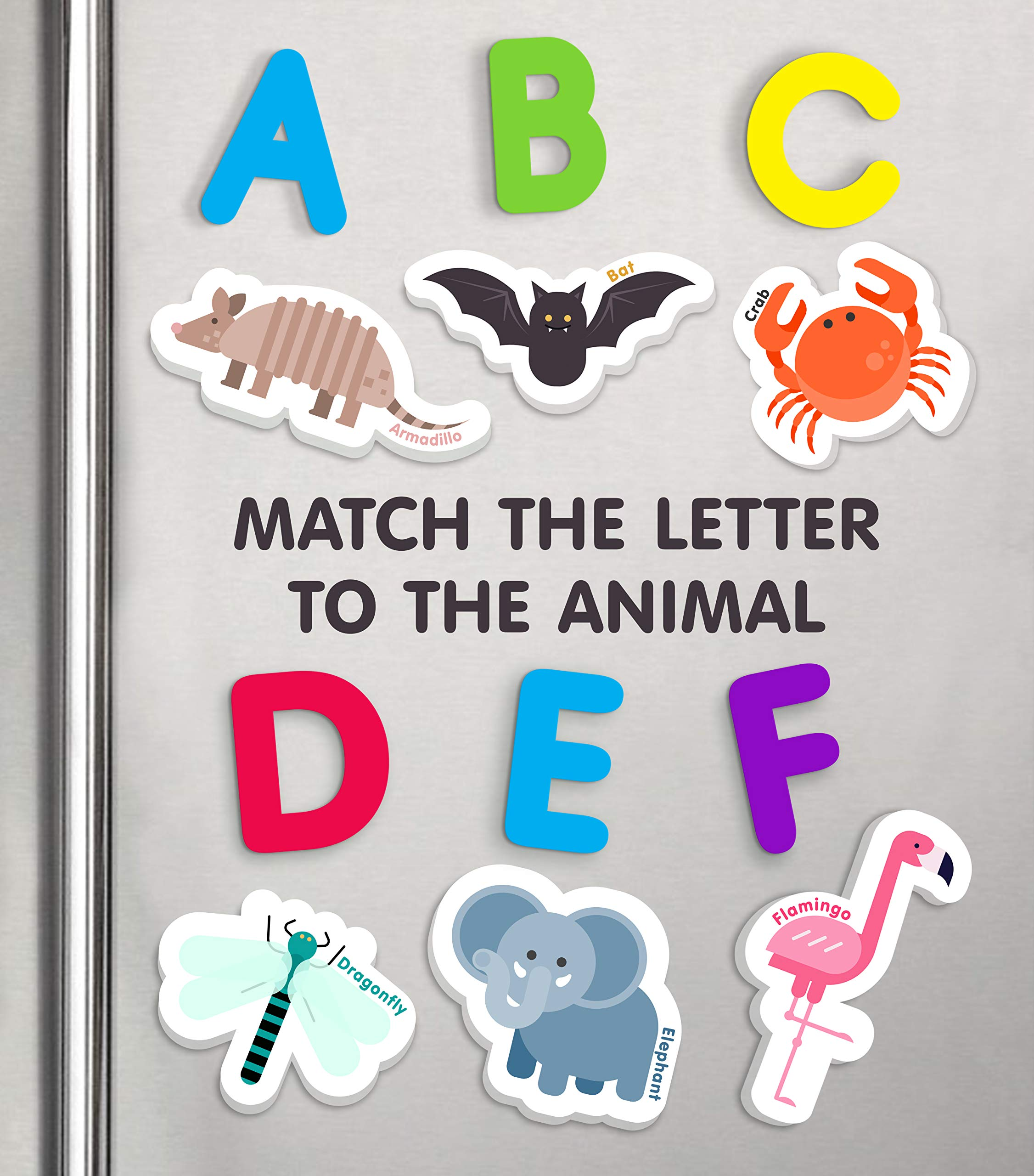 Curious Columbus Animal Magnets For Kids. Includes Alphabet Letters. Set of 52 Pieces. Foam Educational Magnetic Toy Objects For Word Recognition. 26 Picture Fridge Magnets and 26 ABC Letters From A-Z by Curious Columbus (Image #3)