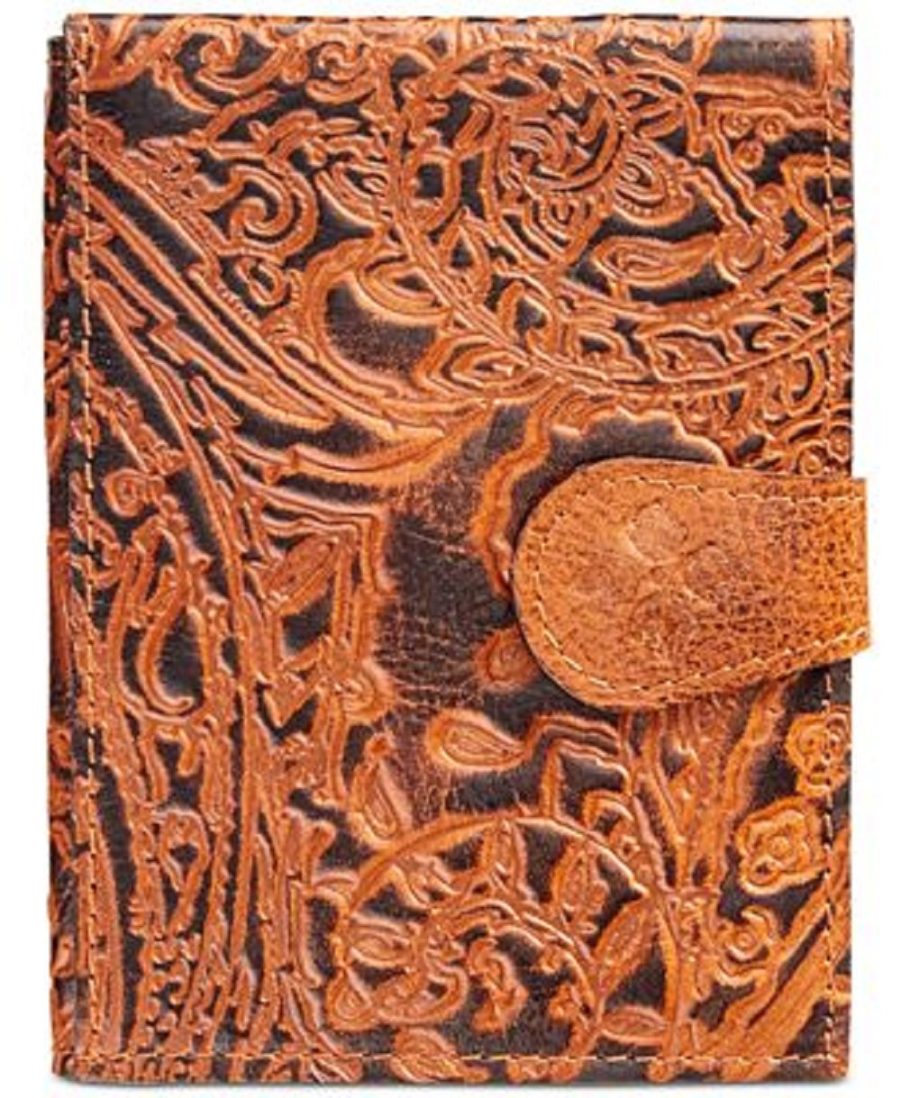 Patricia Nash Burnished Tooled Lace Passport Holder- Brown