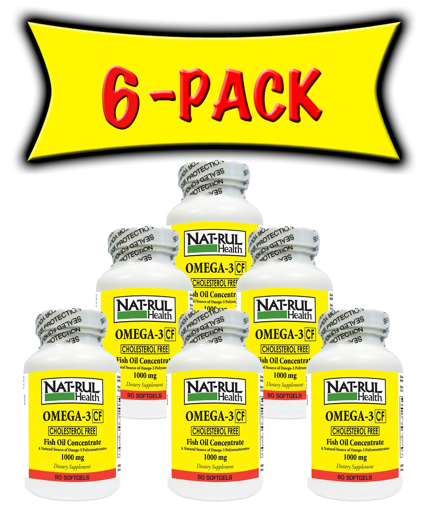 Nat-Rul Health Omega 3 Cholesterol Free 100mg 90 Softgels - 6 Pack by Nat-Rul Health