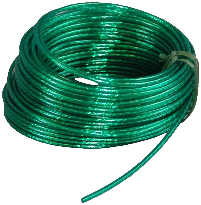 Suki 3819143 acero plastificado, 3,5 mm x 30 m Rollo de cable para tender color verde