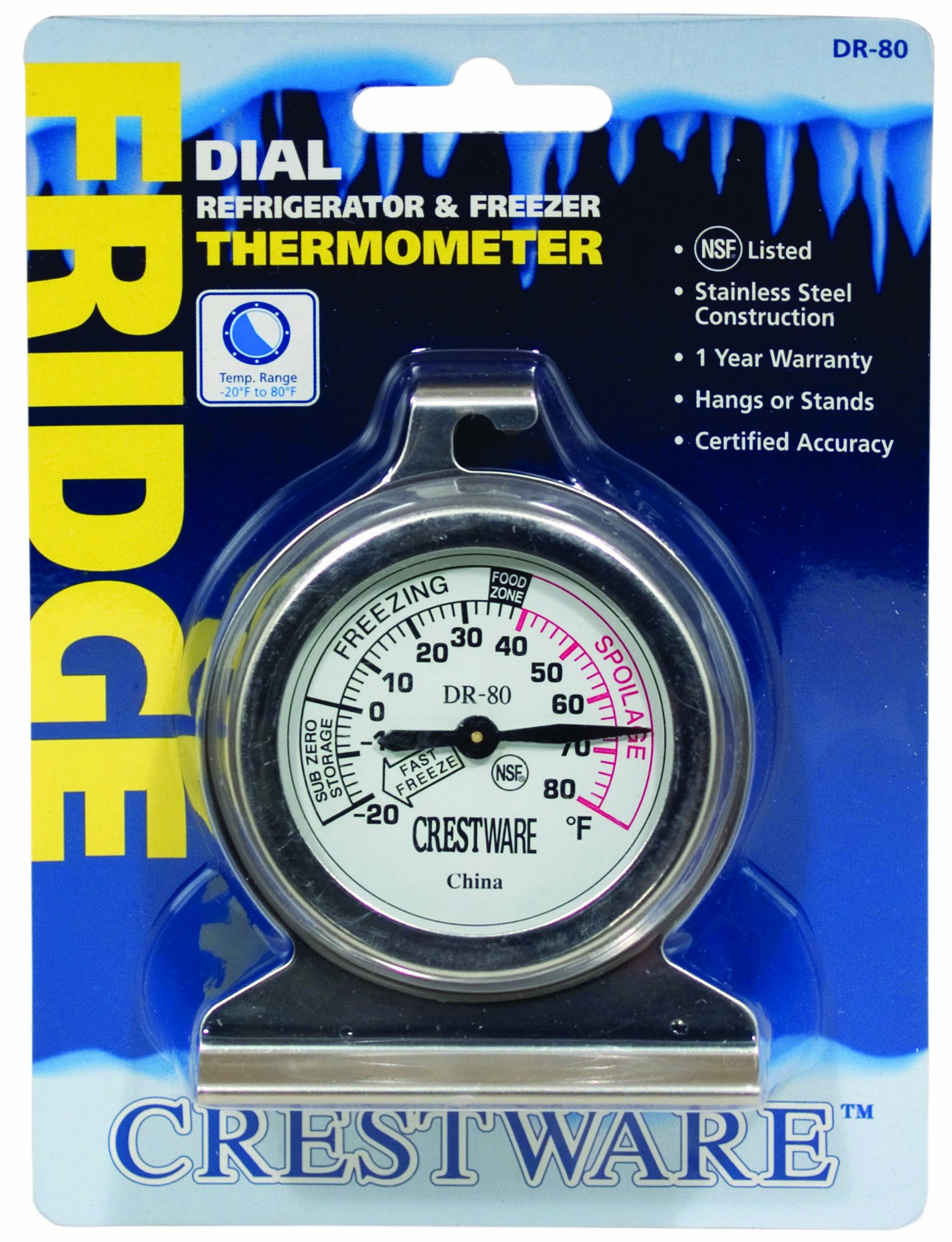 Crestware Dial Refrigerator/Freezer Thermometer