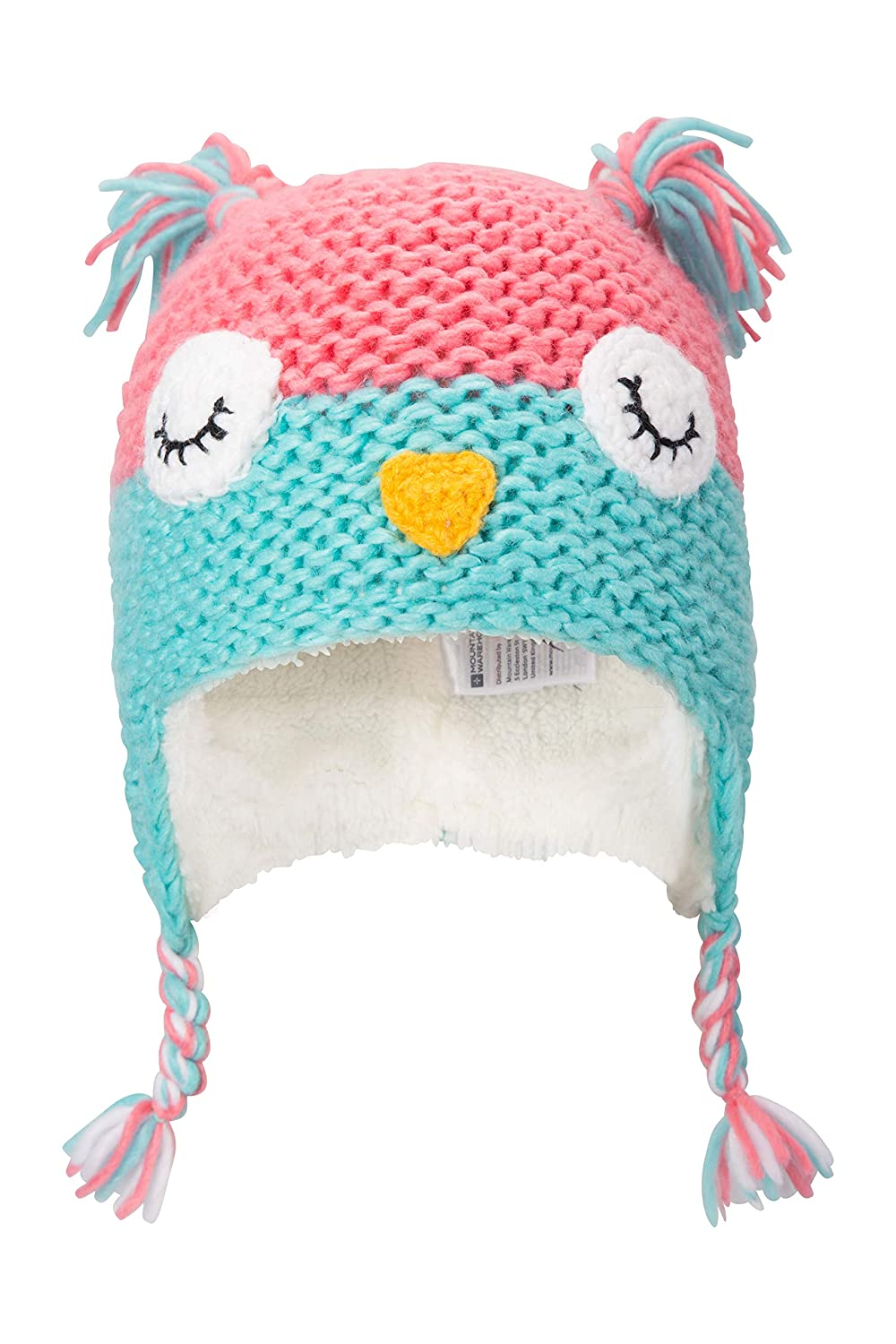 Fleece Lined Beanie Teal Mountain Warehouse Owl Knitted Kids Winter Hat