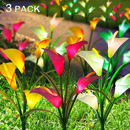 FORUP 3 Pack Solar Garden Stake Flower Lights, Outdoor Calla Lily Flower Lights with 12 Lily Flowers, Multi Color Changing LED Lily Solar Powered Lights for Patio, Lawn, Garden, Yard Decoration