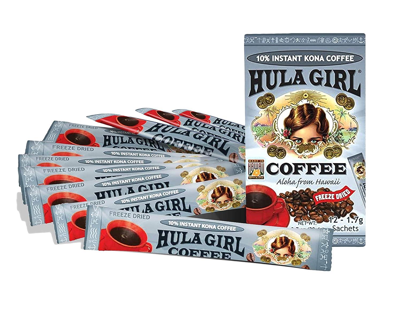 Amazon Com 10 Hula Girl Kona Coffee Sachet 1 Box Of 12 1 7 Grams Each Sachet Instant Coffee Grocery Gourmet Food