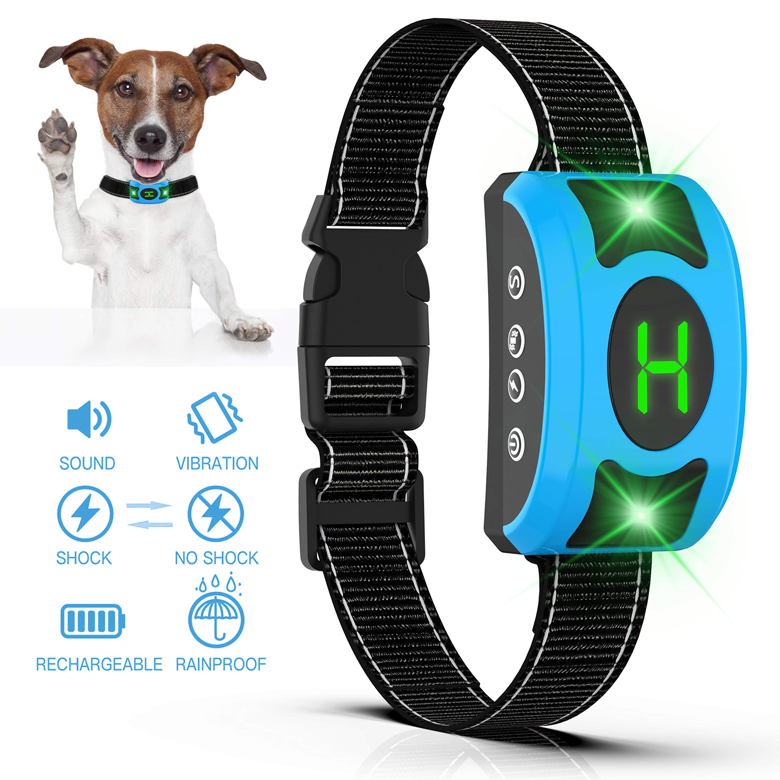 Rechargeable Anti Dog Bark Collar, Waterproof Smart Detection Train Large Medium Small Dogs Humanely with LED Breathing Light & Screen