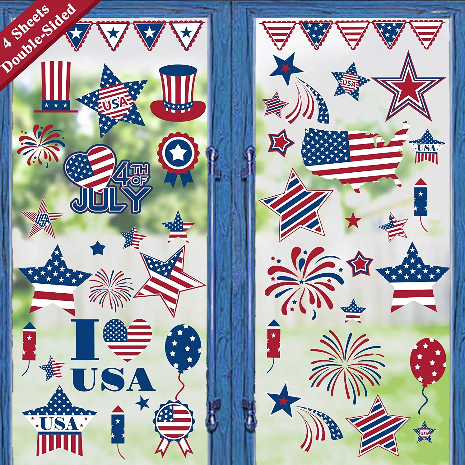 Amazon Com Ivenf 4th Of July Decorations Window Clings