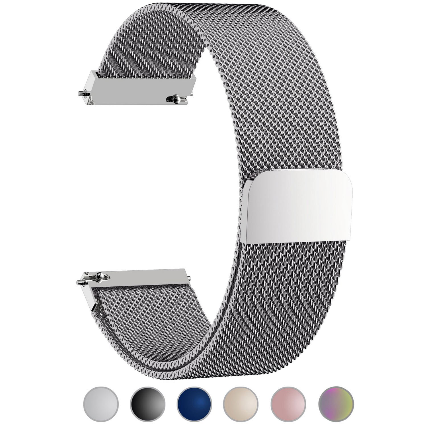 6 Colors for Huawei Watch Band, Fullmosa 18mm Watch Strap Quick Release Pins for Asus Zenwatch 2/LG Watch Style/Withings Activité/Steel HR 36mm Bracelet Milanese Watch Bands for Men Women, Silver