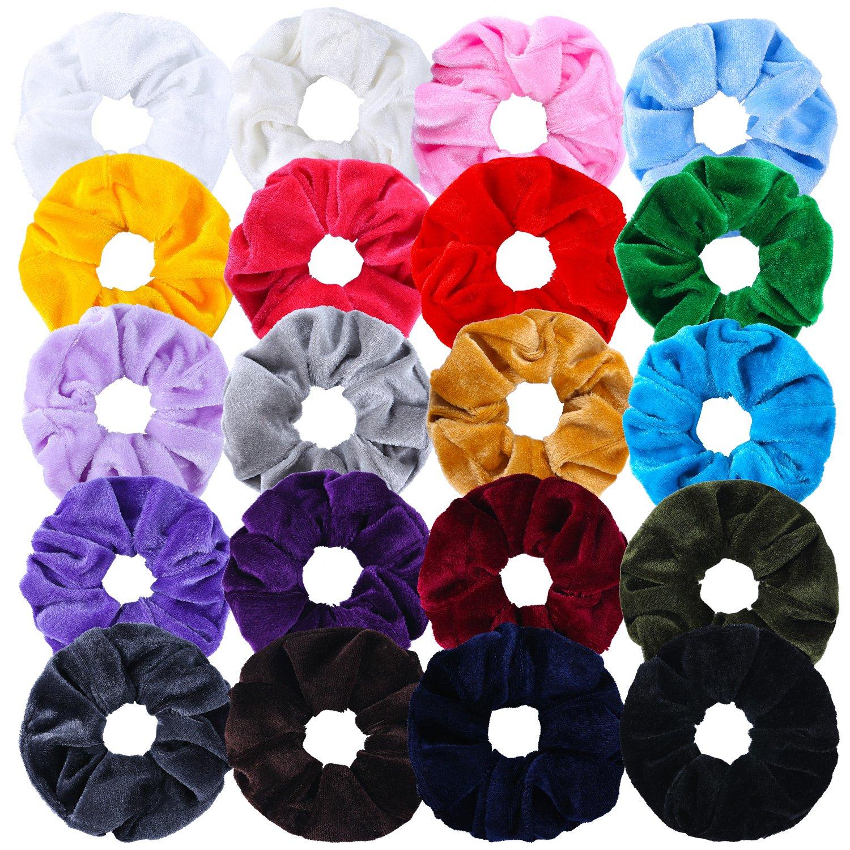 Aneco Scrunchies Elastic Scrunchy Hair Bobbles Elastics Hair Ties Bands Hair Accessories (Velvet 20 colors)